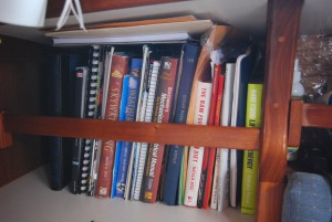 The Library aboard Daphne, my sailboat and home